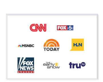 Collection of Media Channels Jeffrey Shapiro has been part of - CNN, Fox News, MSNBC, Today Show, HLN, The Early show, and TruTV